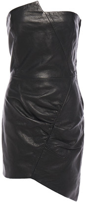 IRO Entoma Strapless Ruched Textured-leather Mini Dress