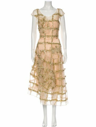 Simone Rocha Floral Print Long Dress Gold