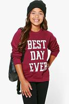 Boohoo Girls Best Day Ever Sweat Top
