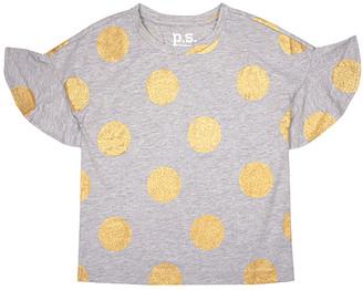 Aeropostale p.s. from Girls' Tee Shirts LTGRE - Light Gray Glitter Dot Ruffle-Sleeve Tee - Girls