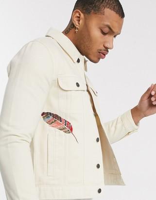 Asos Design DESIGN denim jacket in sand with embroidery-Beige