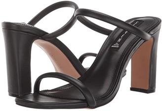 STEVEN NEW YORK Jersey Heeled Sandal (Black Leather) Women's Shoes