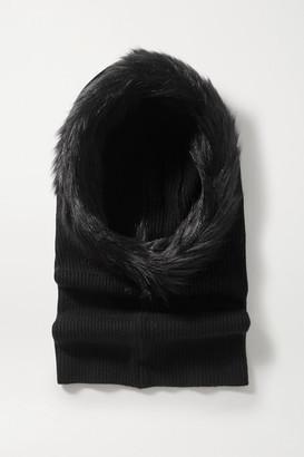 Eugenia Kim Paulina Faux Fur-trimmed Ribbed Cashmere Snood - Black