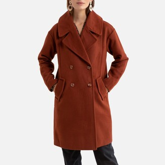 Jacqueline De Yong Double-Breasted Coat with Oversized-Collar
