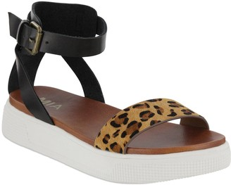 Mia Ellen Leopard Genuine Calf Hair Detail Platform Sandal