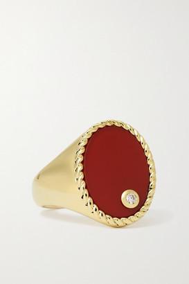 Yvonne Léon 9-karat Gold, Agate And Diamond Signet Ring - 3