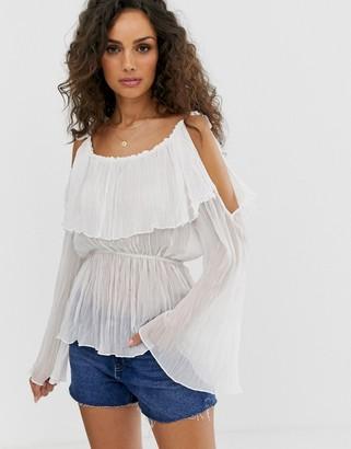 Asos Design DESIGN long sleeve cold shoulder top with frill shoulder-Cream
