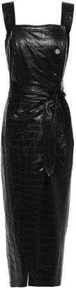 Nanushka Zora Belted Shirred Croc-effect Vegan Leather Midi Dress