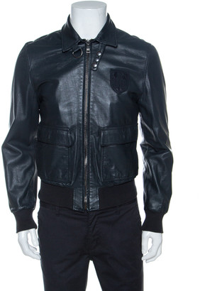 Dolce & Gabbana Charcoal Grey Leather Crest Detail Jacket M