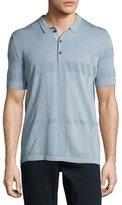 Burberry Enlarged Tonal Check Polo Shirt, Slate Blue