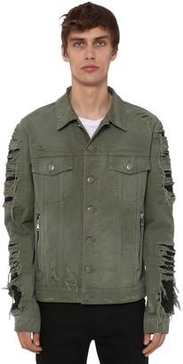 Balmain Cotton Denim Jacket W/ Faux Leather