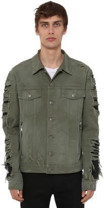 Balmain Cotton Denim Jacket W/ Faux Leather