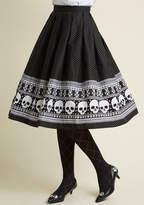 Hell Bunny Happy Skull-idays Midi Skirt in XS - Full Skirt Long by Hell Bunny from ModCloth
