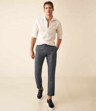 Reiss Vale - Linen Blend Drawstring Trousers in Indigo