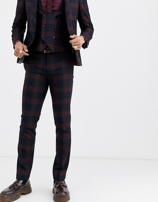 Twisted Tailor Ginger super skinny fit suit pants in burgundy check