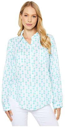 Lilly Pulitzer Sea View Button Down (Sea Crystals Palms Up) Women's Clothing