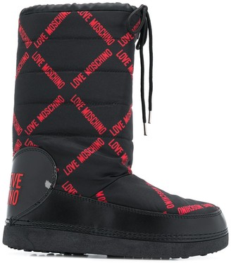 Love Moschino printed shell snow boots