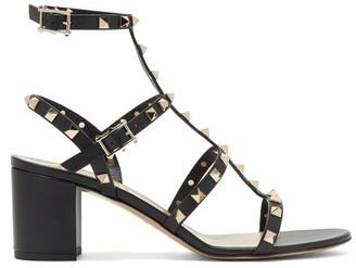 Valentino Rockstud Block-heel Leather Sandals - Womens - Black