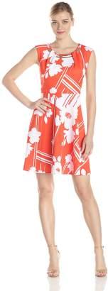 Sandra Darren Women's Cap Sleeve Printed Embellished Neck Fit and Flare Dress