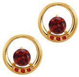 Gem Stone King 1.25 Ct Genuine Round Garnet Gemstone 18k Yellow Gold Earrings