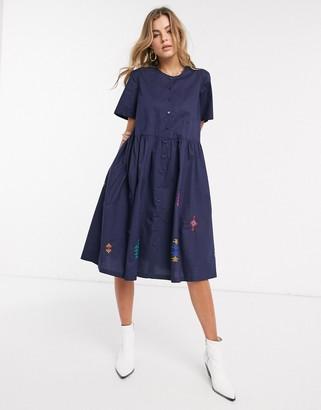 Résumé Resume Selma embroidered button front midi dress