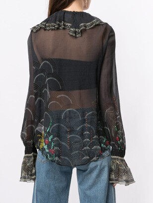 Camilla Silk Sheer Long Sleeve Blouse