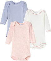 Petit Bateau Set of 3 baby girls long-sleeved bodysuits