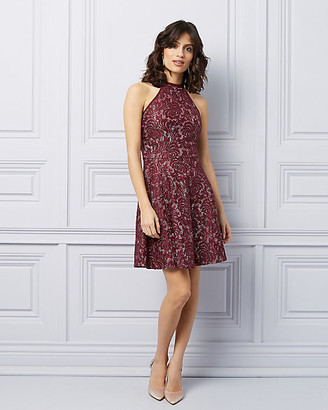 Le Château Lace Fit & Flare Halter Cocktail Dress