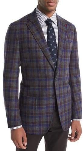 Isaia Domenico Large Check Wool-Cashmere Blazer