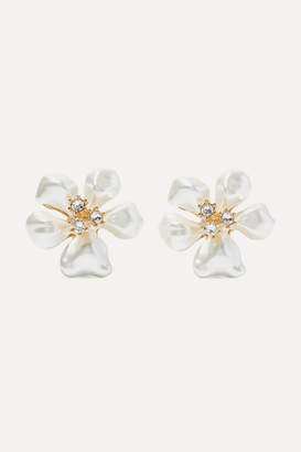 Kenneth Jay Lane Gold-tone, Faux Pearl And Crystal Clip Earrings - White