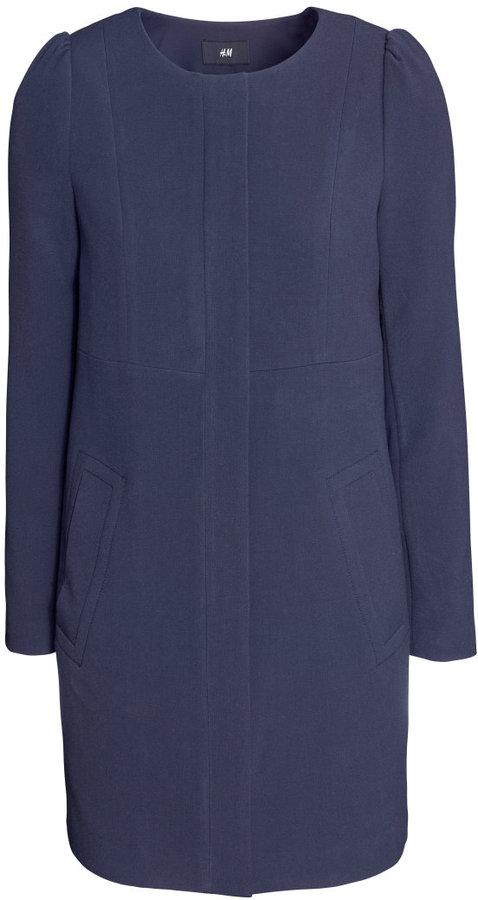 H&M Fitted Coat - Dark blue - Ladies