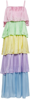 Olivia Rubin Cici Tiered Color-block Silk-satin Maxi Dress
