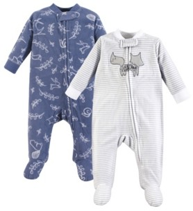 Yoga Sprout Baby Vision 0-9 Months Unisex Baby Fleece Union Suit/Coveralls and Sleep and Play, Sleep and Play 2-Pack