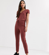 Asos DESIGN Tall v neck lounge wear jumpsuit with tie waist