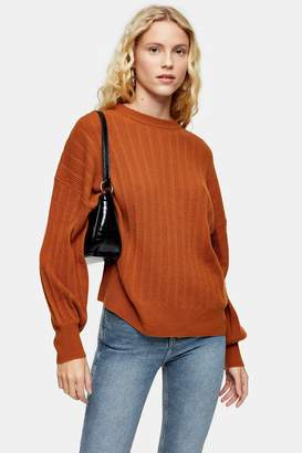 Topshop Womens Brown Knitted Jumper With Cashmere - Tobacco