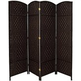 Oriental Furniture High Quality Sturdy Well Built Inexpensive Room Divider, 6-Feet Tall Diamond Weave Natural Fiber Folding Screen