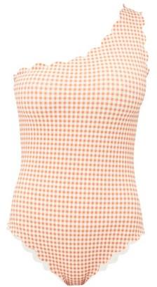 Marysia Swim Santa Barbara One-shoulder Gingham Swimsuit - Womens - Orange