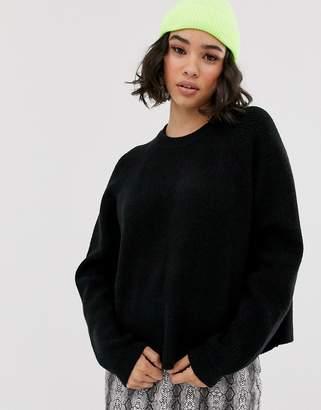 Bershka loose fitted jumper in black