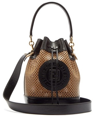 Fendi Mon Tresor Perforated Leather Bucket Bag - Womens - Tan Multi