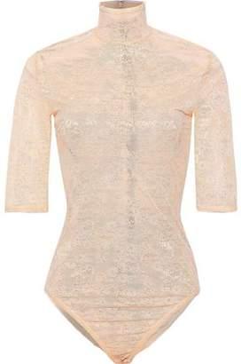 Nina Ricci Chantilly Lace Turtleneck Bodysuit