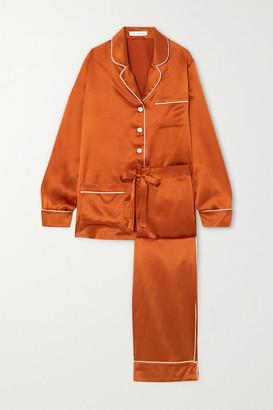Olivia von Halle Coco Silk-satin Pajama Set - Orange
