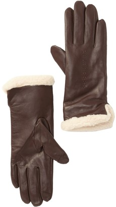 Fownes Bros Leather Gloves with Faux Shearling Cuffs