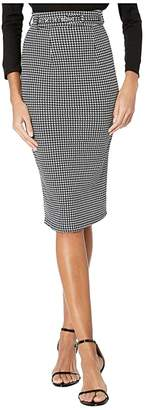 Unique Vintage 1960s Houndstooth High-Waist Marcia Wiggle Skirt (Black/White) Women's Skirt