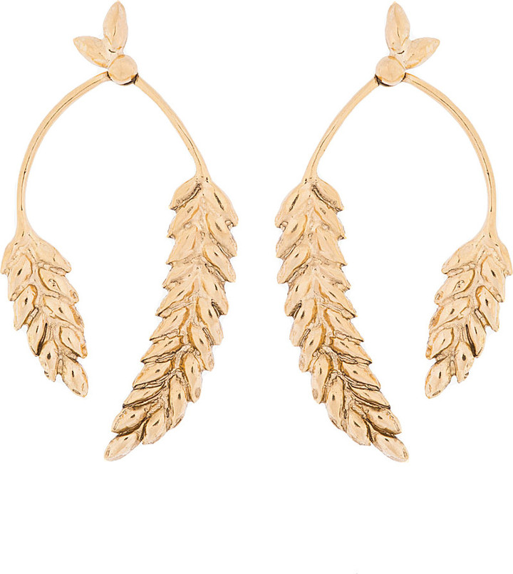 Aurelie Bidermann Gold Plated Wheat Head Articulated Pendent Earrings