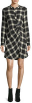 Derek Lam 10 Crosby Mandarin-Collar Button-Front Grid-Print Tunic
