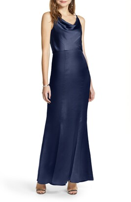 Chi Chi London Marissa Cowl Neck Satin Trumpet Gown