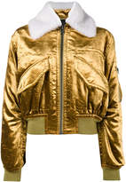 Haider Ackermann metallic cropped bomber jacket