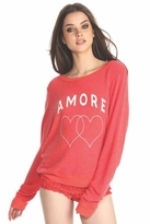 Wildfox Couture Amore Hearts Baggy Beach Jumper in Marinara