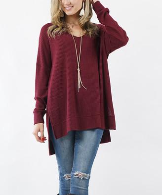 Lydiane Women's Pullover Sweaters DK - Dark Burgundy V-Neck Thermal Hi-Low Tunic - Women