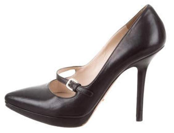 31f44ed421230 Leather Pointed-Toe Mary Jane Pumps Black Leather Pointed-Toe Mary Jane  Pumps